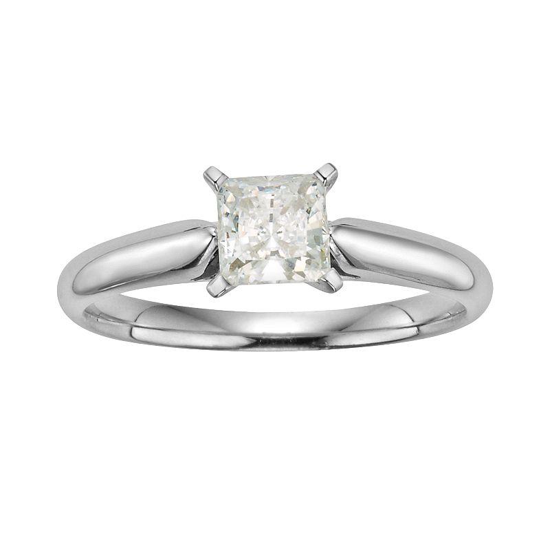 14k White Gold 3/4-ct. T.W. IGL Certified Princess-Cut Diamond Solitaire Ring