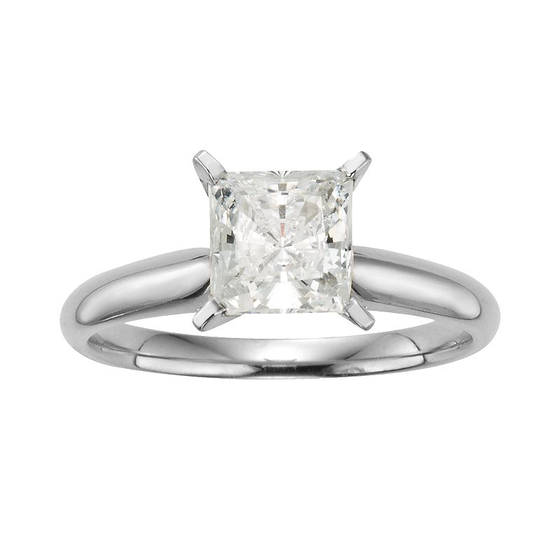 14k White Gold 1 1/2-ct. T.W. IGL Certified Princess-Cut Diamond Solitaire Ring