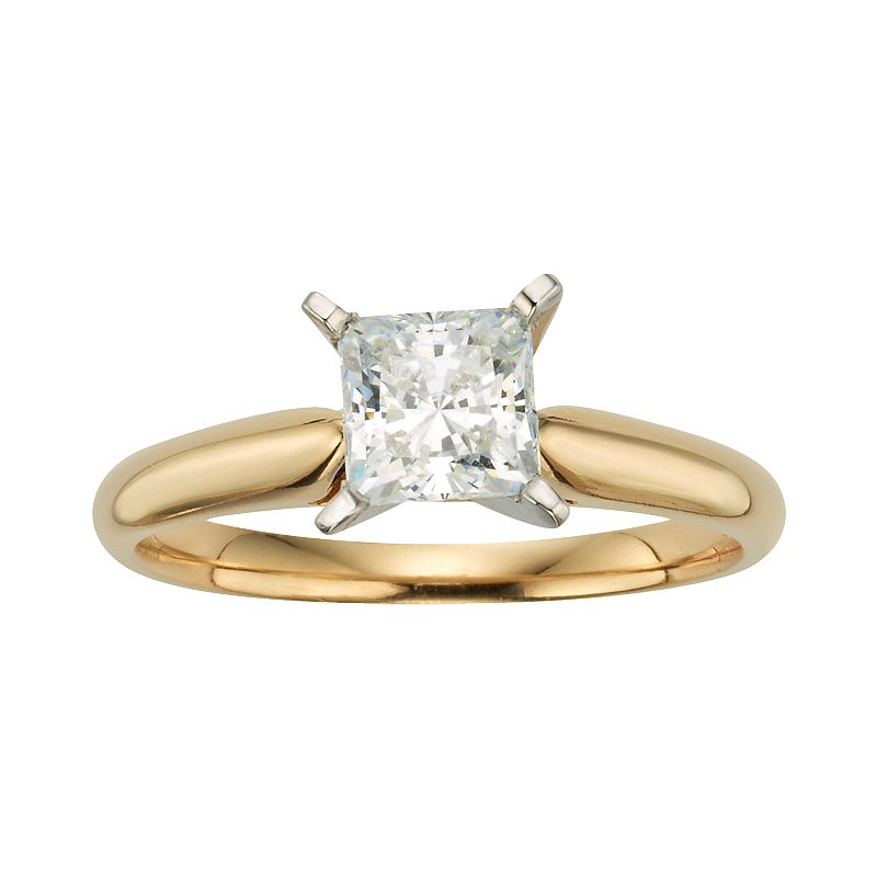 Princess-Cut IGL Certified Diamond Solitaire Engagement Ring in 14k Gold (1 ct. T.W.)
