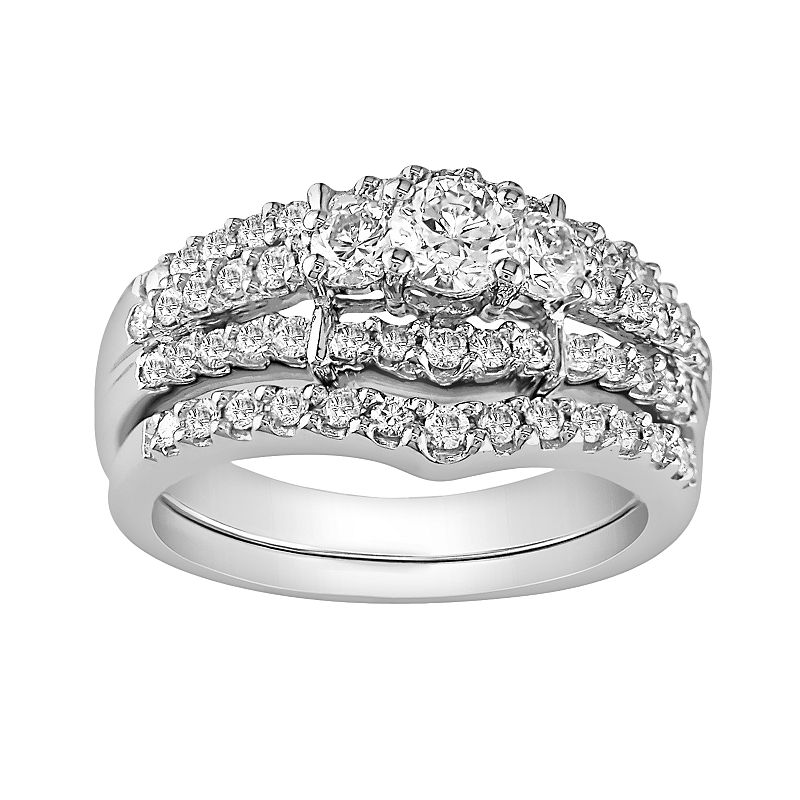 14k White Gold 1-ct. T.W. IGL Certified Diamond Ring Set