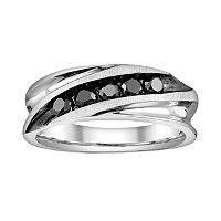 Platina 4 1/2-ct. T.W. Black Round-Cut Diamond Wedding Band - Men