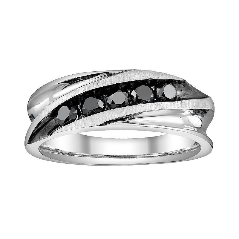 Platina 4 1/2-ct. T.W. Black Round-Cut Diamond Wedding Band - Men