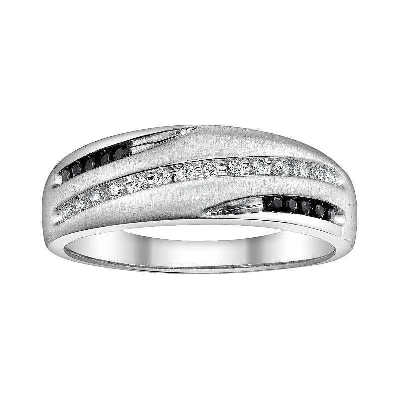 Platina 4 1/4-ct. T.W. Black and White Diamond Wedding Band - Men