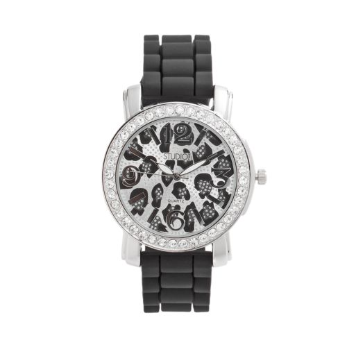 Studio Time Silver Tone Simulated Crystal Leopard Watch - Women