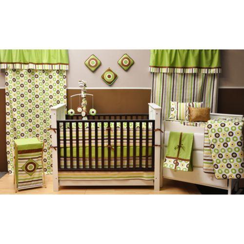 Bacati 10-pc. Mod Dots & Stripes Green Crib Set
