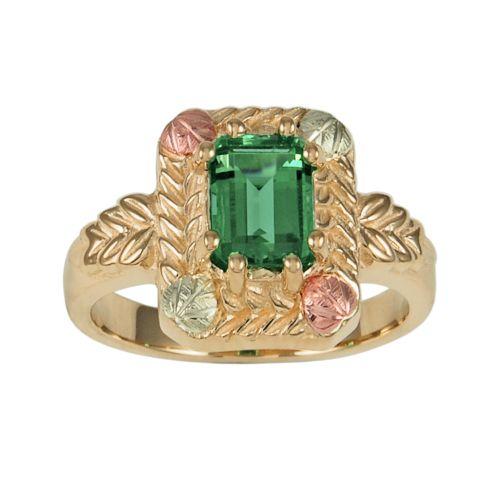 Black Hills Gold Tri-Tone Lab-Created Emerald Leaf Ring