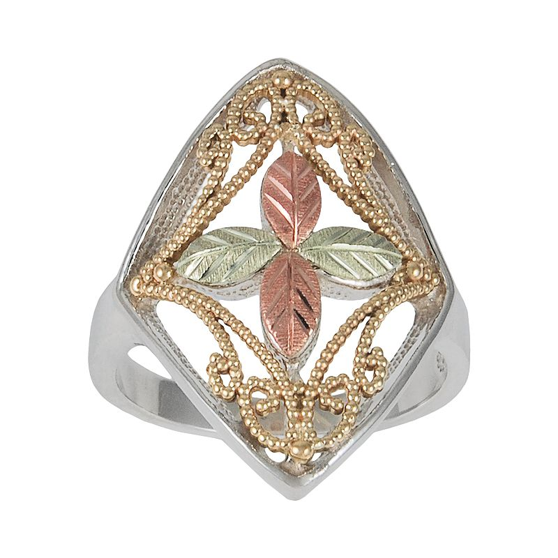 Black Hills Gold Four Tone Beaded Leaf Ring in Sterling Silver