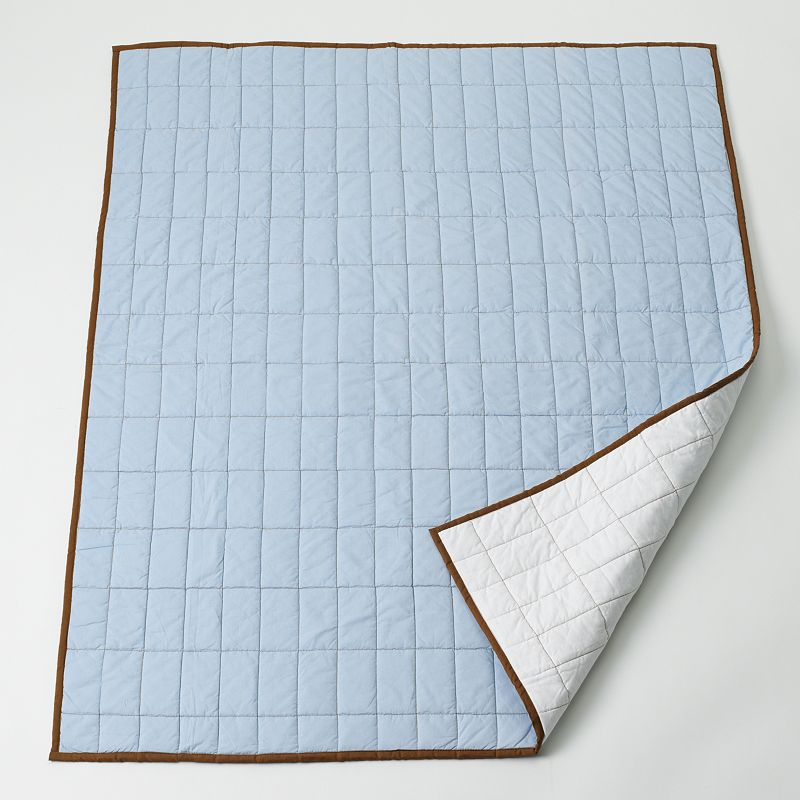Bacati Metro Blue Quilted Throw Blanket