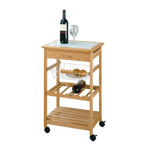 Neu Home Basket and Wine Rack Kitchen Cart