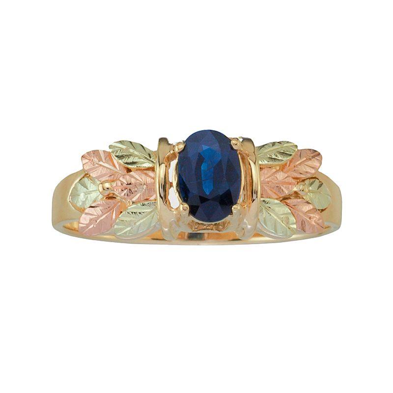 Black Hills Gold Tri-Tone Sapphire Leaf Ring