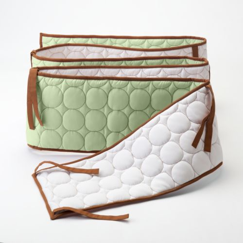 Bacati Quilted Lime and Chocolate Circles Bumper