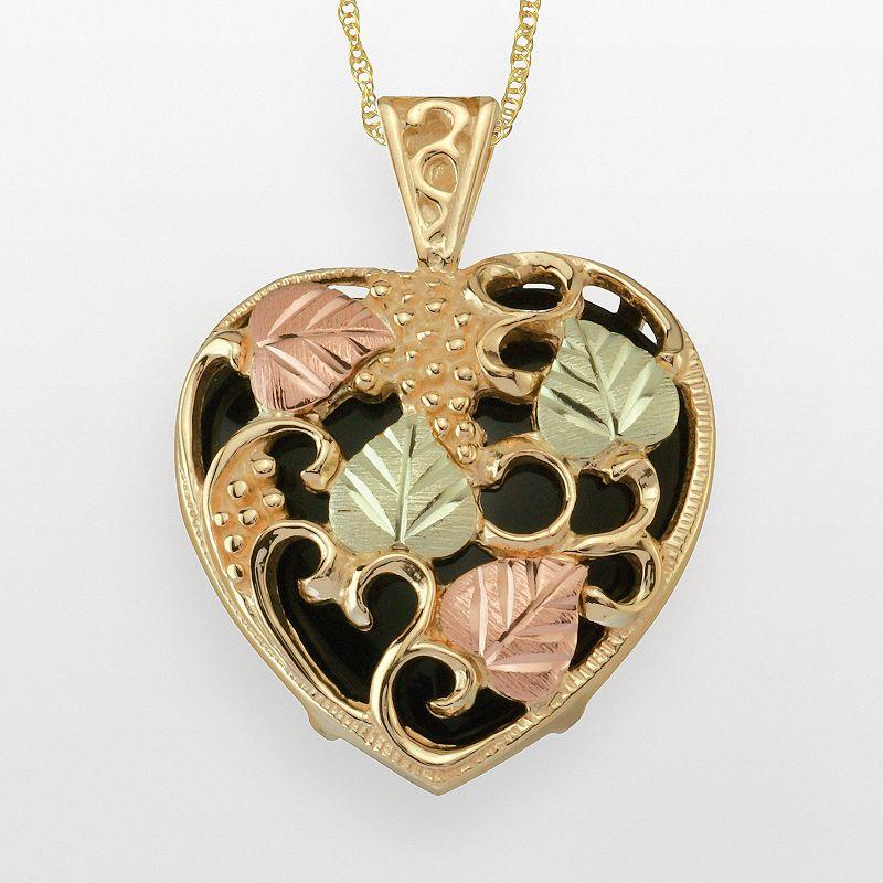 Black Hills Gold Tri-Tone Onyx Leaf & Heart Pendant