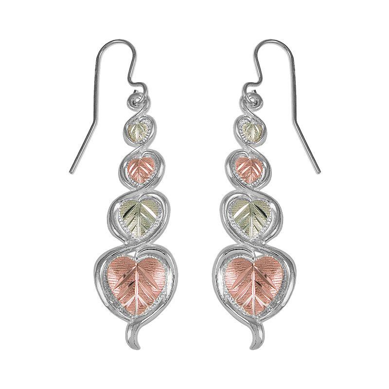 Black Hills Gold Tri-Tone Heart Leaf Linear Drop Earrings in Sterling Silver