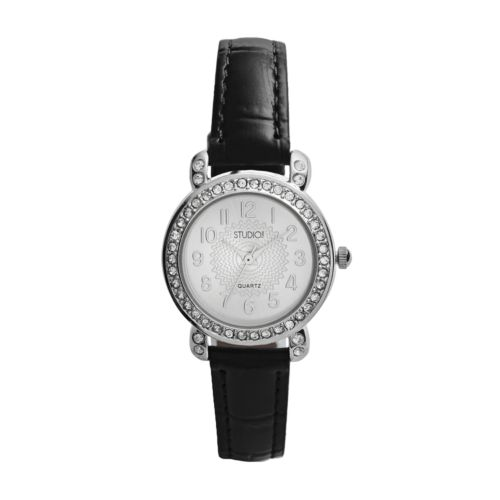 Studio Time Silver Tone Simulated Crystal Watch - Women
