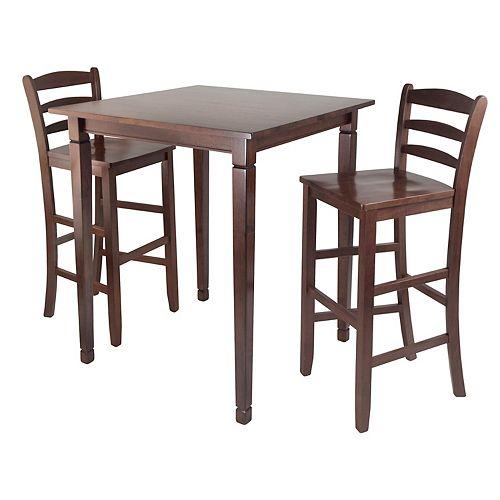 winsome kingsgate 3 pc pub dining table set