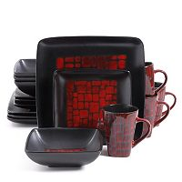 Gibson Everyday Cabazon Red 16-pc. Square Dinnerware Set