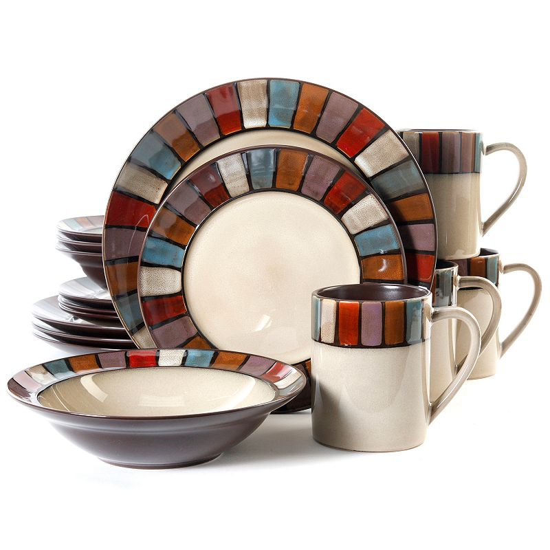 Gibson Everyday Tabella Mosaic Cream 16-pc. Dinnerware Set