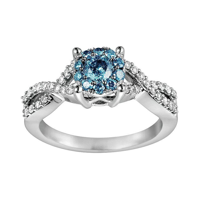 10k White Gold 3/4-ct. T.W. Blue and White Diamond Crisscross Ring