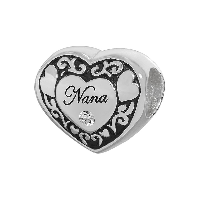 Individuality Beads Sterling Silver Crystal Nana Heart Bead