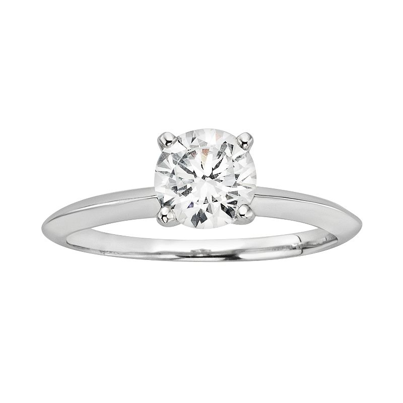 Diamonore Simulated Diamond Solitaire Engagement Ring in Sterling Silver (1 ct. T.W.)