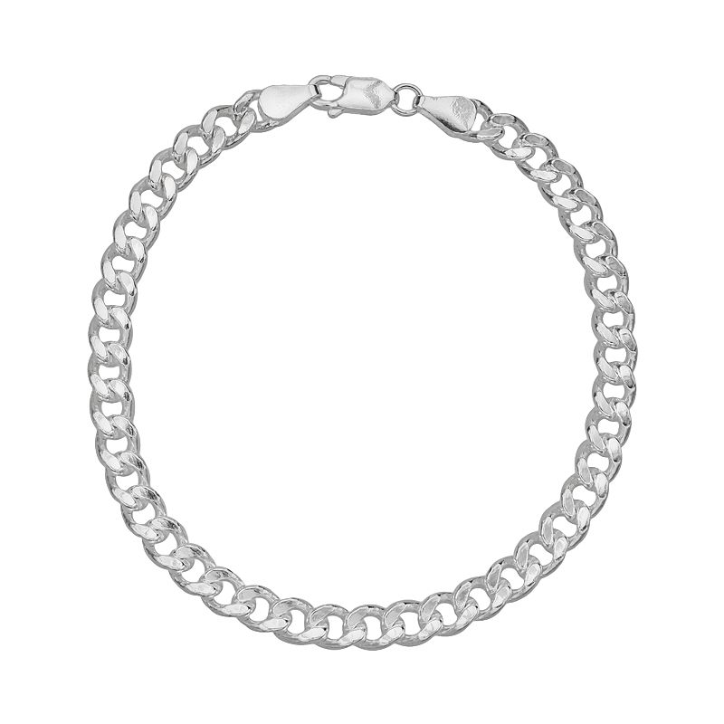 Splendid Silver Silver-Bonded Curb Chain Bracelet - 8-in.