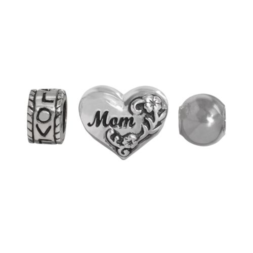 Individuality Beads Sterling Silver Mom Heart, Love and Spacer Bead Set