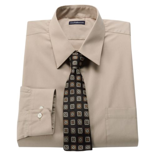 Men's Croft & Barrow® Classic-Fit Point-Collar Dress Shirt with Striped Tie Box Set - Men