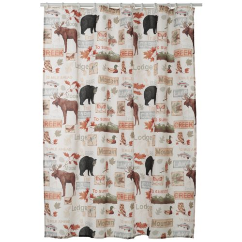 Home Classics® Christmas Wilderness Fabric Shower Curtain
