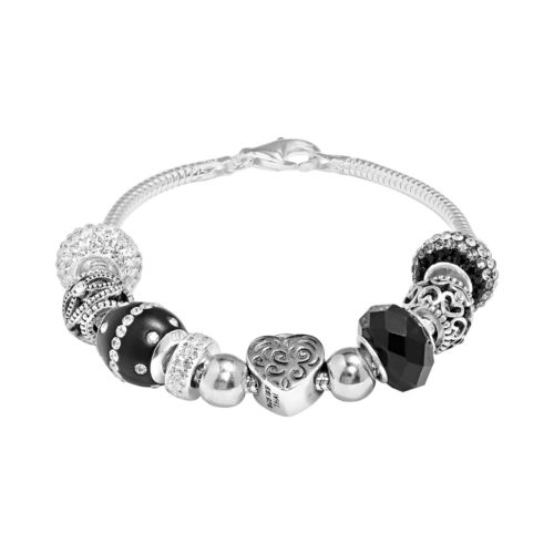 Individuality Beads Sterling Silver Snake Chain Bracelet and Crystal Heart Lock Bead Set