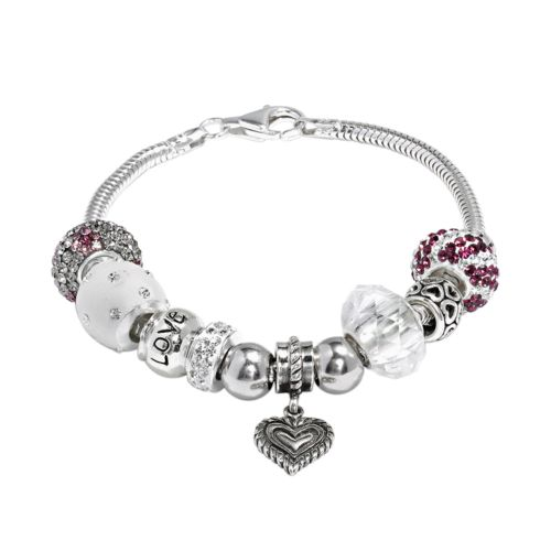 Individuality Beads Sterling Silver Snake Chain Bracelet, Heart Charm and Crystal Love Bead Set
