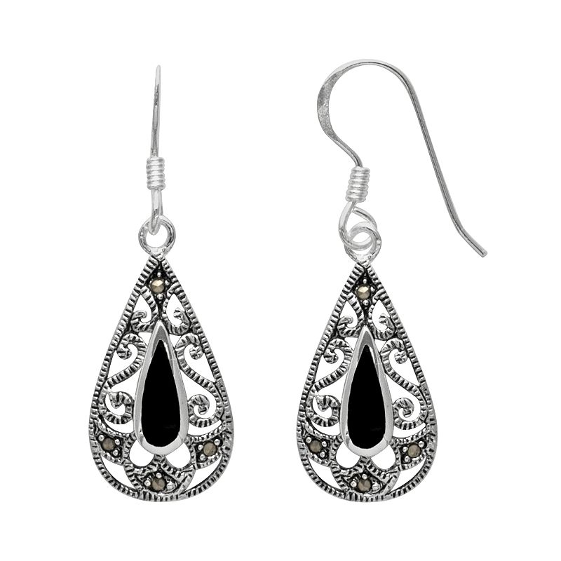 Silver Plated Onyx and Marcasite Filigree Teardrop Earrings