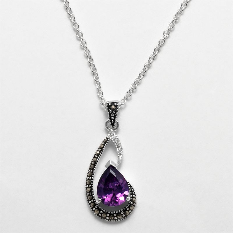 Silver Plated Cubic Zirconia and Crystal Teardrop Pendant