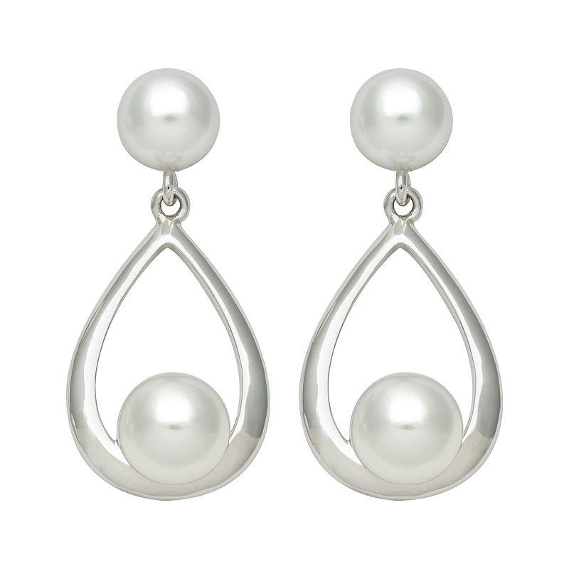 Sterling Silver Freshwater Cultured Pearl Teardrop Earrings