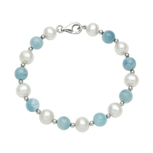 Sterling Silver Freshwater Cultured Pearl and Aquamarine Bead Bracelet