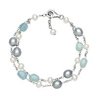 Sterling Silver Freshwater Cultured Pearl, Dyed Freshwater Cultured Pearl & Aquamarine Bead Bracelet