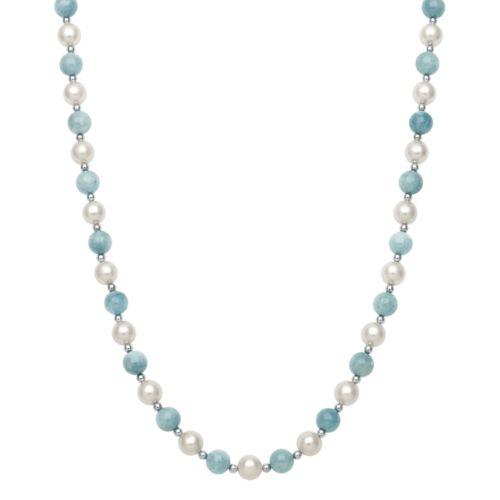 Sterling Silver Freshwater Cultured Pearl and Aquamarine Bead Necklace