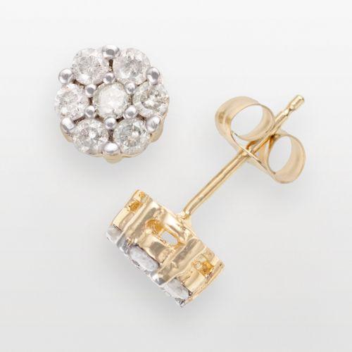 10k Gold 1/2-ct. T.W. Diamond Cluster Stud Earrings
