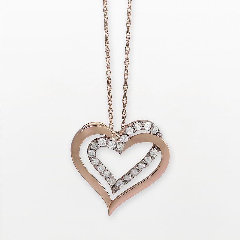 10k Rose Gold 1/4-ct. T.W. Diamond Double-Heart Pendant