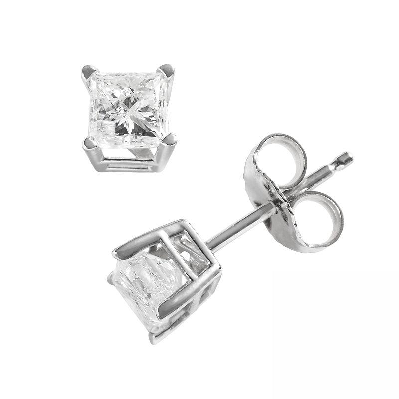 14k White Gold 3/4-ct. T.W. Princess-Cut Diamond Solitaire Earrings