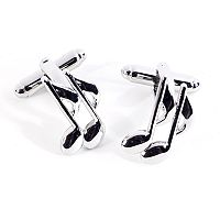 Rhodium-Plated Music Note Cuff Links