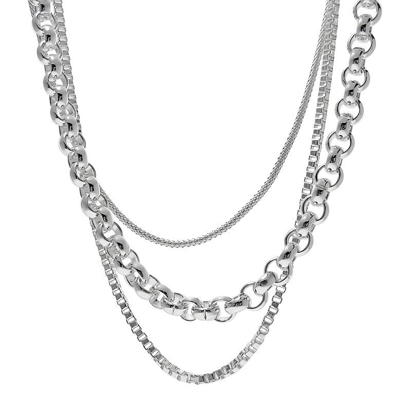 Silver Plated Three Chain Necklace
