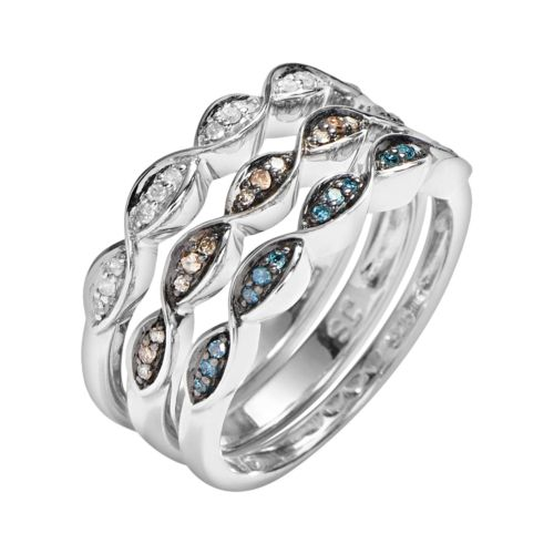 Sterling Silver 1/5-ct. T.W. Blue, Champagne and White Diamond Stack Ring Set