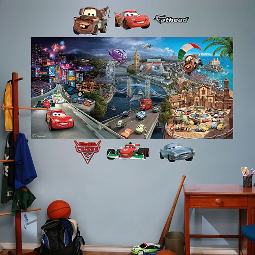 Disney pixar cars 2 mural wall decals by fathead for Disney pixar cars wall mural