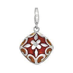 Sterling Silver White Topaz Flower Charm