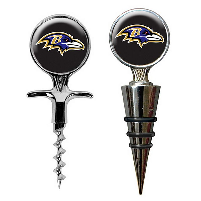 Baltimore Ravens Cork Screw and Wine Bottle Topper Set