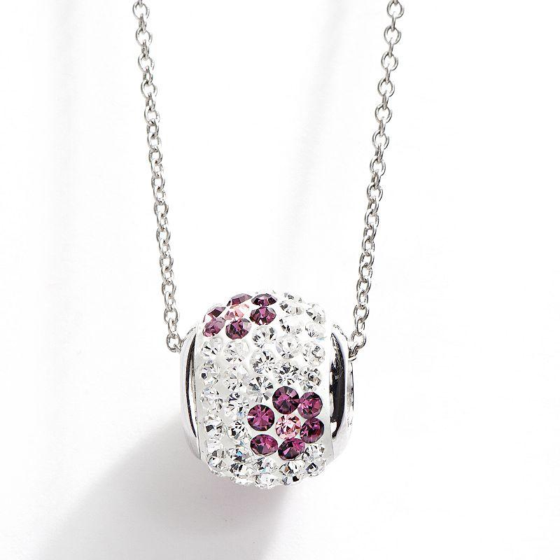 Silver Plated Crystal Flower Spinner Ball Pendant