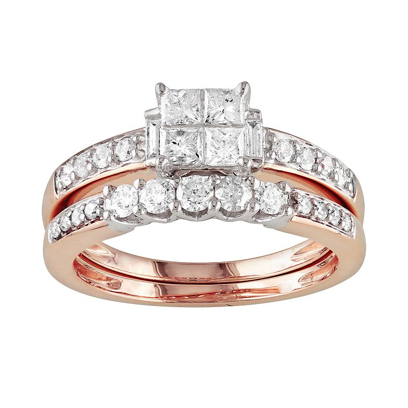 14k Rose Gold 1-ct. T.W. IGL Certified Princess-Cut Diamond Ring Set