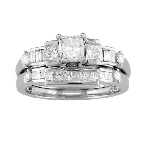 14k White Gold 1-ct. T.W. IGL Certified Diamond Ring Set