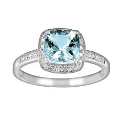 14k White Gold 1/10-ct. T.W. Diamond & Aquamarine Frame Ring by