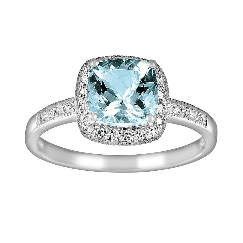 14k White Gold 1/10-ct. T.W. Diamond and Aquamarine Frame Ring